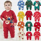 Toddler Baby Christmas Jumpsuit Cartoon Long Sleeve Thickened Warm Baby Romper