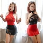 Women's Lace Sleeveless Mini Dress Party Bodycon PU Leather Wet Look Clubwear US