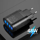 Black US 4 Port Fast Quick Charge QC 3.0 USB Hub Wall Charger Power Adapter Plug