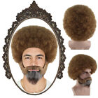 80s Painter Bob Cosplay Party Short Brown Afro Wig with Full Beard and Mustache