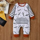 Infant Baby Girls Long Sleeve Cartoon Hooded Stripe Tops Stripe Pants Set Clothe