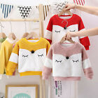 Toddler Baby Boys Girls Long Sleeve Cartoon Fleece Tops Pullover Sweatshirt