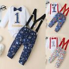 My 1st Birthday Newborn Baby Girl Boy Romper Suspender Pants Outfits Set US