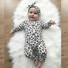 Newborn Infant Baby Boys Girls Leopard Print Romper Jumpsuit Headband Outfits