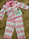 Peanuts Snoopy 2 Pc Toddler Pink Flannel Christmas Holiday PAJAMA ALL SIZES NWT