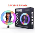RGB Selfie Ring Light with Cell Phone Holder 8 19 12 inch 26cm for Live Streamin
