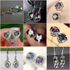 9 Styles Gorgeous Earrings For Women 925 Silver Jewelry Mystic Topaz A Pair/set
