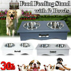 Non-slip Stand Feeders Pet Dog/Puppy/Cat Wet & Dry Feeding Twin Bowl Food/Water