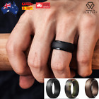 Men's Stepped Edge Silicone Wedding Ring Bands Flexible Work Sport Gym Aus