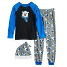 New Boys' Jellifish Pajama Set Shirt Pants Hat XL 14/16 Black Bear or Red Moose