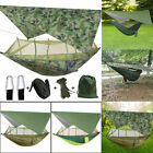 Outdoor Camping Hammock Hanging Bed Swing Chair Mosquito Net +Rain Fly Tent Tarp
