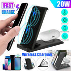 20W Qi Wireless Fast Charger Charging Stand Dock For Apple Air Pods iPhone 12 XS