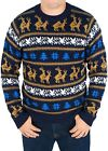 Festified Men's Retro Humping Reindeer Sweater (Blue) - Ugly Christmas Sweater