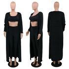Womens 3PC Casual Scoop Neck Crop Top Shirt Leggings Cardigan Outfit Set S-2XL