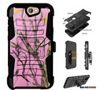 For HTC Bolt,One A9,Desire Series Hybrid Belt Clip Holster Case Pink Tree Camo