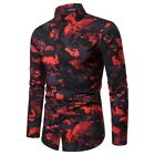 Luxury Dress Shirts Stylish Casual Blouse Mens Top Long Sleeve New Floral Formal