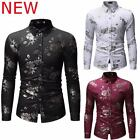Stylish Floral Shirt Luxury Top Slim Fit Long Sleeve Dress Shirts Casual Mens