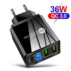 3 Port QC3.0 Fast Quick Charge PD USB Type-C Cable Wall Charger Adapter US Plug