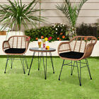 Brown Rattan Garden Patio Furniture Set Table Chairs Outdoor Indoor Steel Rattan
