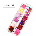 12 Grids Heart Nail Glitter Flakes 3D Sweet Sequins Valentine's Day Decoration
