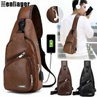 Men's Leather Chest Pack Shoulder Bag Sports Crossbody Handbag Usb Charging Port