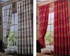 """Curtains Pencil Pleat Check Design 90""""x90"""" Assorted Colours Clearance Stock"""