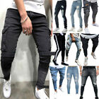 Mens Slim Fit Ripped Jeans Destroyed Distressed Denim Cargo Casual Trousers Size