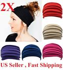 2pcs Elastic Stretch Wide Headband Hairband Running Yoga Turban Women Head Wrap