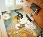 3D Golden Peacock 2583 Floor WallPaper Murals Wall Print Decal UK Zoe