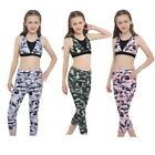 Girls Gym Sports Outfit Set Stretchy Yoga Ballet Bra Top Legging Athletic Suit