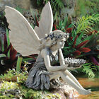 Garden Sitting Fairy Statue Ornament Resin Craft Landscaping Yard Figurine Decor