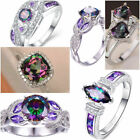 Mystic Topaz 925 Silver Rings Fashion White Sapphire Wedding Women Rings Sz 6-10