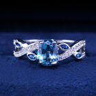 Romantic Oval Cut Aquamarine Women Wedding Jewelry 925 Silver Rings Size 6-10