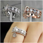 925 Silver,Rose Gold Rings Charm Women Wedding Cubic Zirconia Jewelry Size 5-11