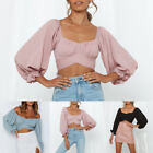 Womens Long Sleeve Off-Shoulder Puff Cropped Tops Ladies OL Short Blouse T-Shirt