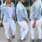 Casual Womens Loose Oversized Denim Distressed Ripped Long Jacket Ladies Outwear