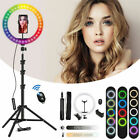 "10/12"" LED RGB Selfie Ring Light Phone Tripod Stand Holder Live Stream Makeup US"