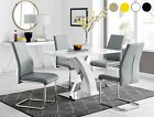 ATLANTA 4 White High Gloss Dining Table Set and 4 Faux Leather Chairs Seats
