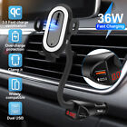 Qi Wireless Car Charger Mount Holder Fast Charging Cradle For Cell Phone iPhone