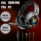 3.5mm LED Gaming Headset Mic Stereo Bass Surround Headphones For PC PS4 Xbox One