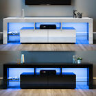 Entertainment Unit TV Cabinet Stand High Gloss Doors 160cm with LED Lights