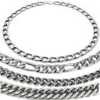 Men Stainless Steel Figaro or Cuban Curb Chain Necklace