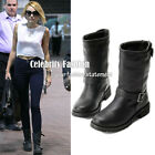 bc1 Celeb Style Biker Buckle Black Ankle Boots