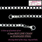 4.5mm Stainless Steel Box Link Jewelry Chain - Choice of Length - NEW!
