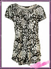 Ladies Plus Size Black and White Floral Print Swing Top