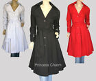 Princess Charm NEW Long Trench Coat Black Size 8 10 12 14 16 18 20 22