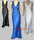 AU Size 8 10 12 14 Blue Satin Prom Formal Evening Dress Evening Gown Polyester