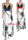 Size 10 12 14 16 18 20 22 Long Evening Dress White Blue/ White Red New