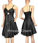 NEW Black Satin Cocktail Dress Sz XS S M L XL 2XL 3XL