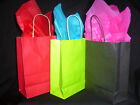 10 X PAPER PARTY BAGS WITH TISSUE PAPER- LIME/RED/BLACK